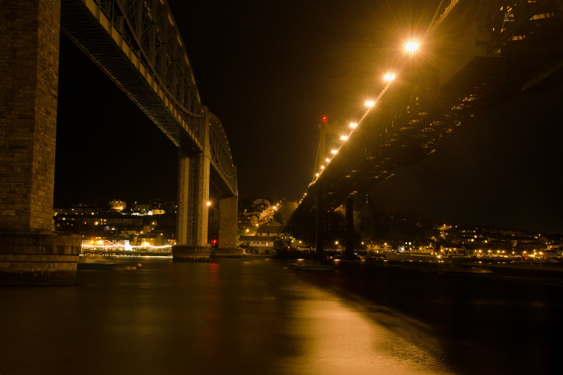 Night View of the Two Bridges From St Budeaux